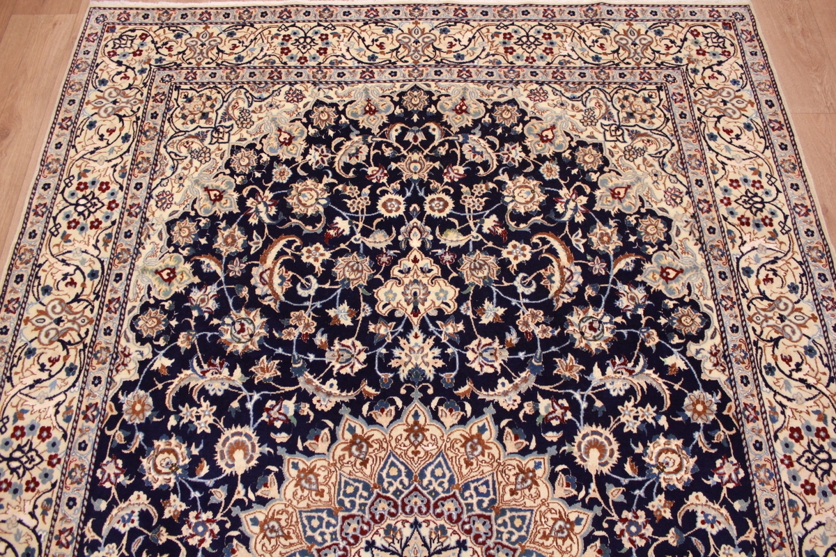 Perser Teppich Nain 9 La Mit Seide 314x203 Cm Blau