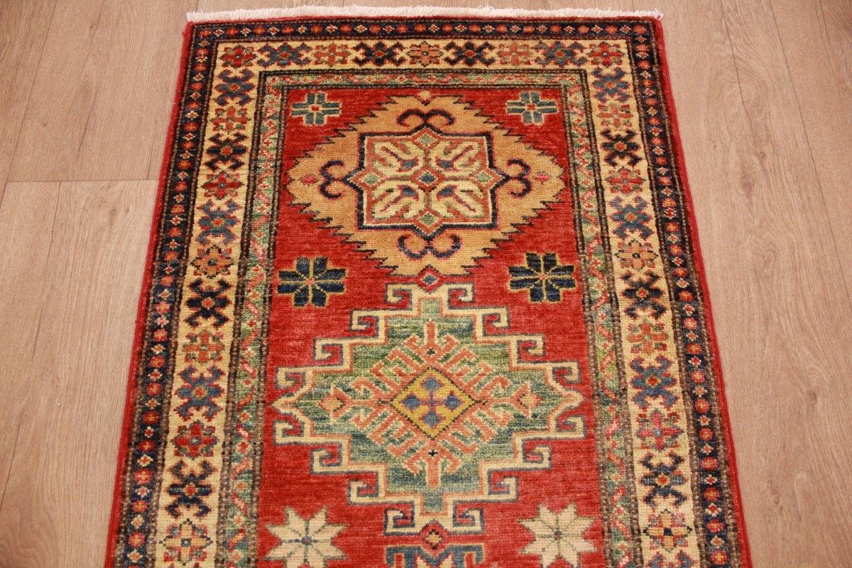 kazak teppich orientteppich l ufer rot 223x63 cm. Black Bedroom Furniture Sets. Home Design Ideas