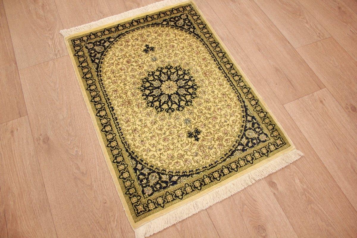 teppich persian carpet gom pure silk rug 75x55 cm beige. Black Bedroom Furniture Sets. Home Design Ideas