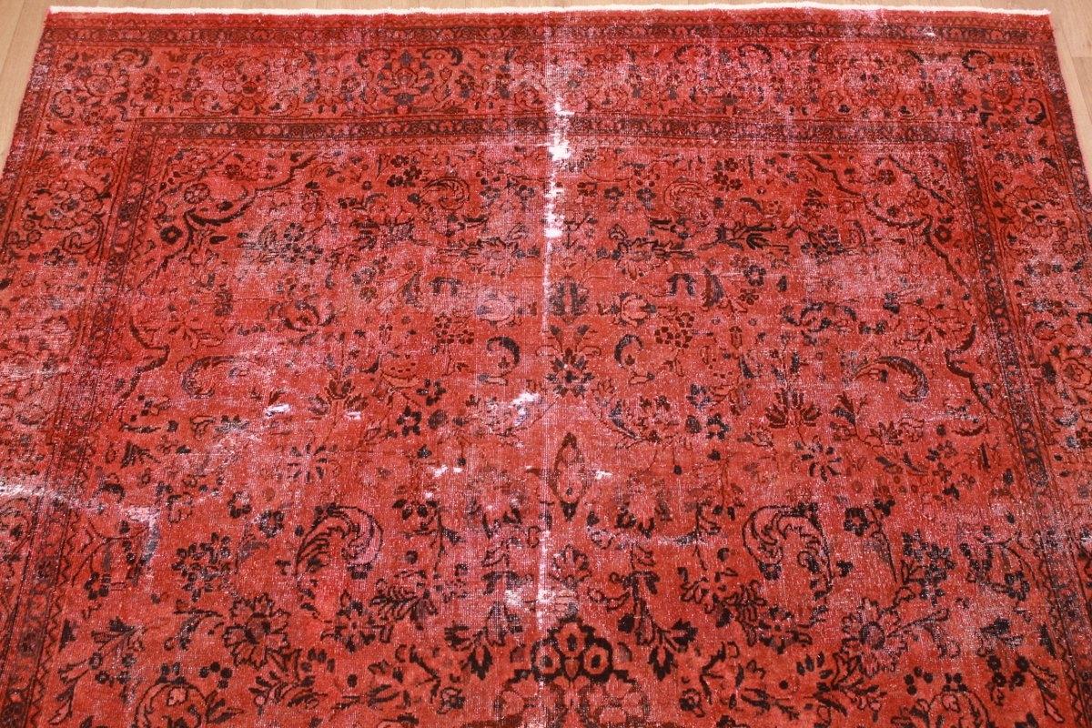 vintage carpet modern overdyed used look red 402x278 cm. Black Bedroom Furniture Sets. Home Design Ideas