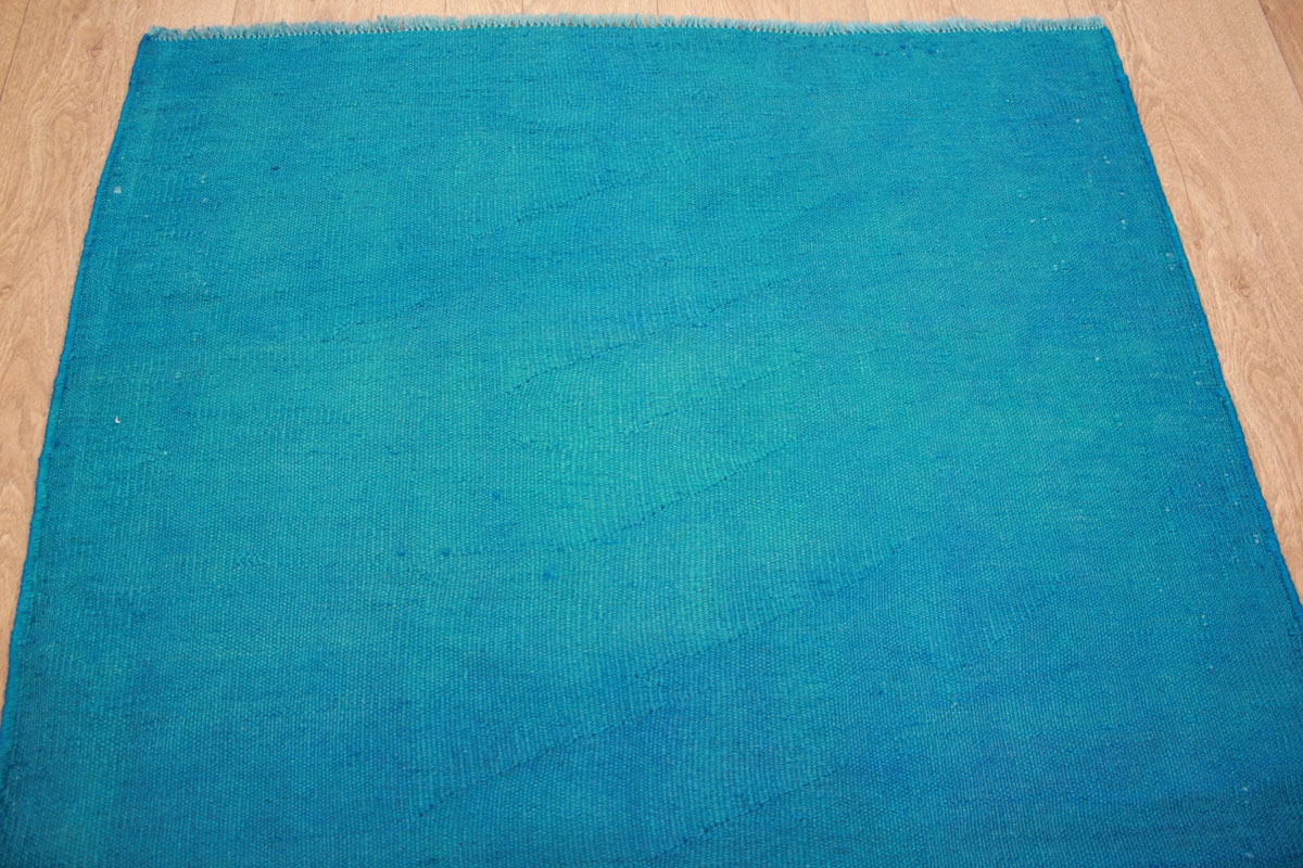 kelim vintage overdyed aus reiner wolle 148x92 cm blau. Black Bedroom Furniture Sets. Home Design Ideas