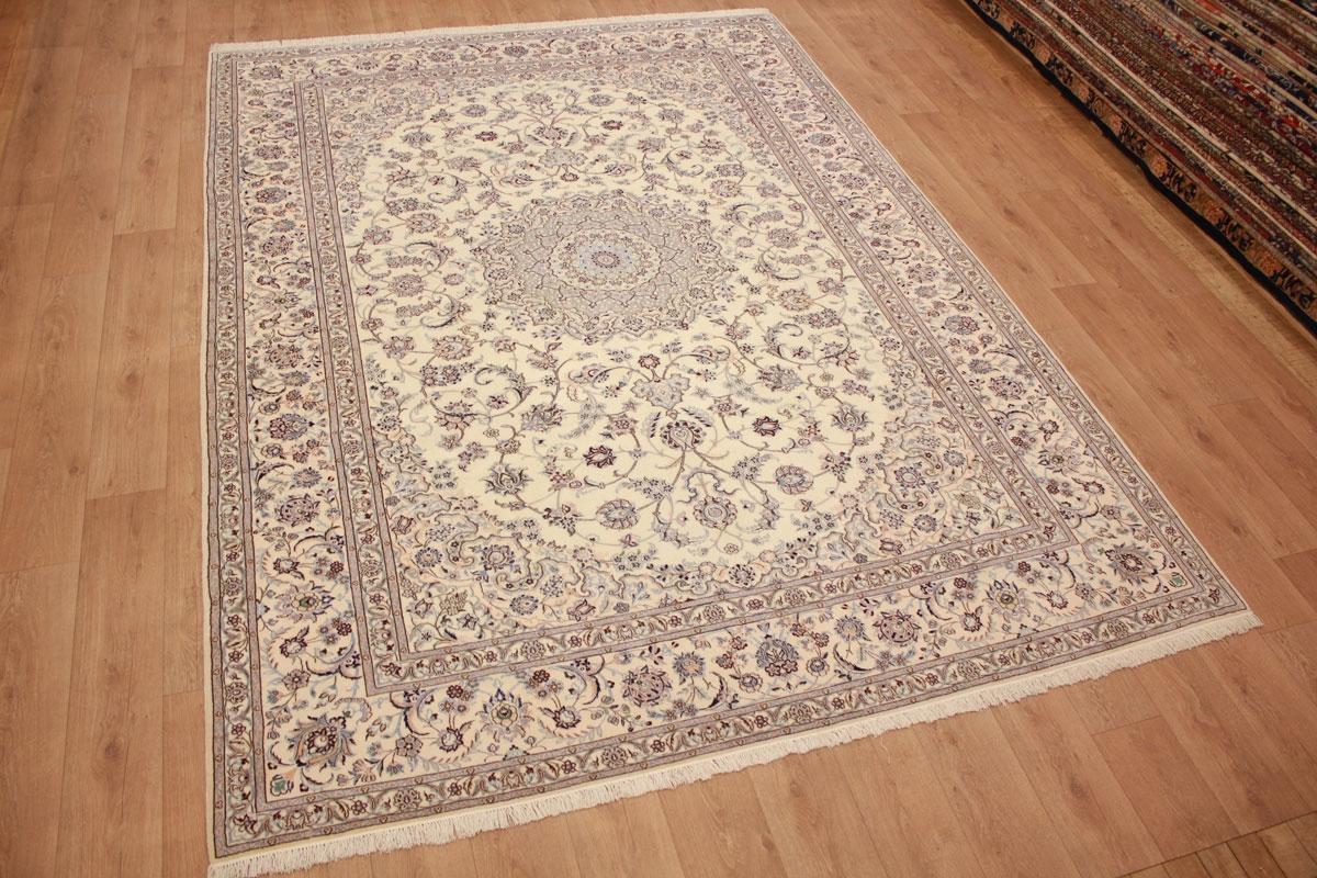 teppich persian carpet nain 6la with silk 355x255 cm beige. Black Bedroom Furniture Sets. Home Design Ideas