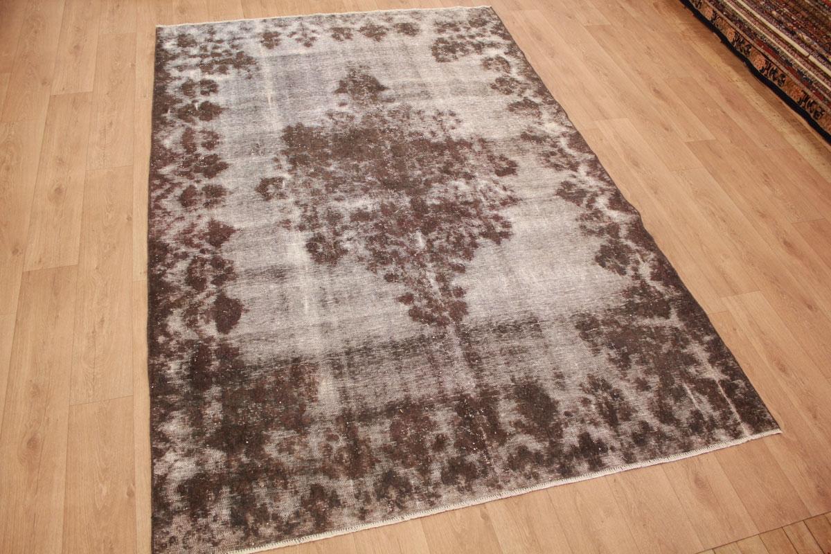 Vintage Teppich Moderner Orientteppich Grau Braun 306x203 Cm