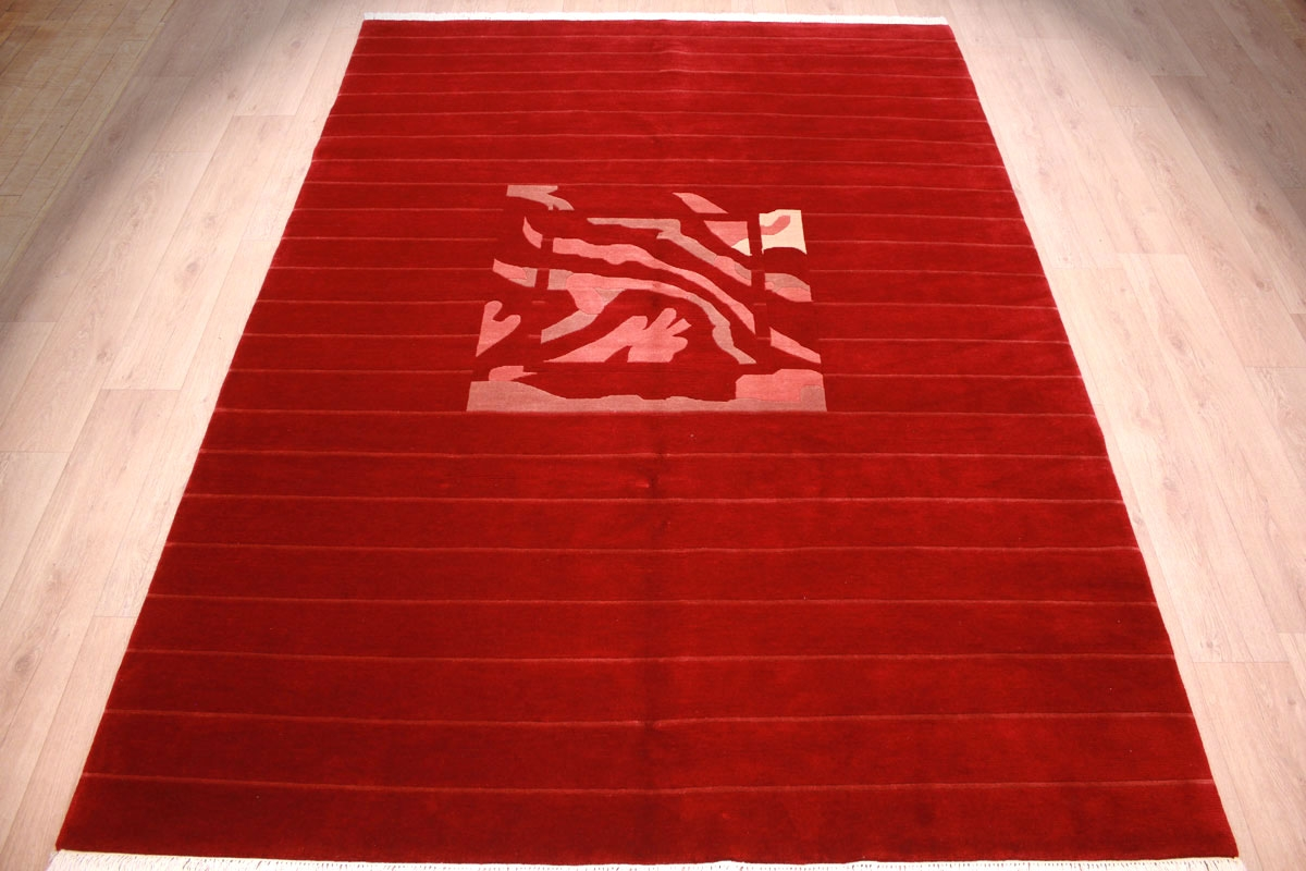 Modern Oriental Carpet Nepal Royal Red 289x205 Cm Red