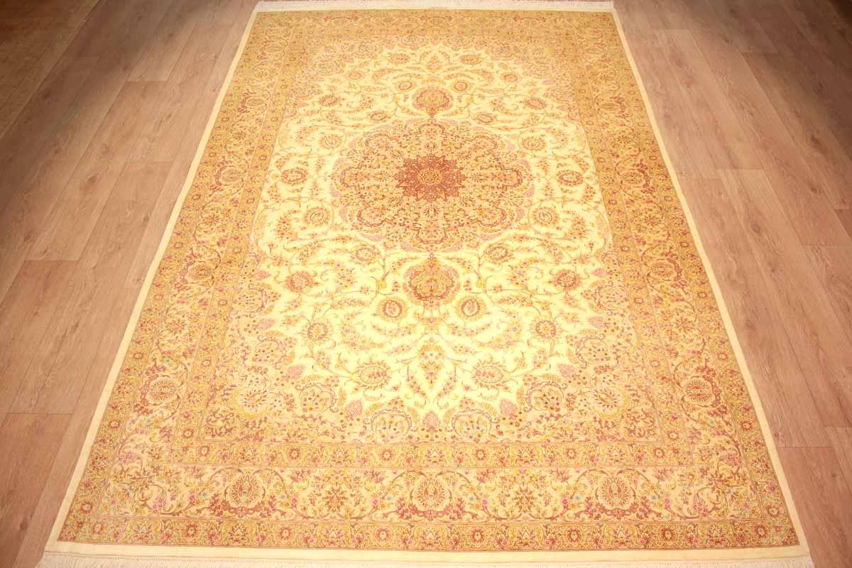 seidenteppich ghom perserteppich kazemi 299x195 cm beige. Black Bedroom Furniture Sets. Home Design Ideas