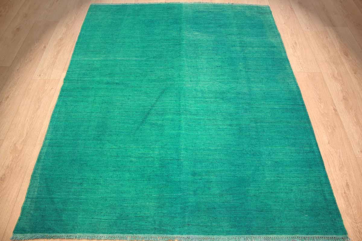 kelim vintage teppich gef rbt aus reiner wolle 200x158 cm gr n. Black Bedroom Furniture Sets. Home Design Ideas